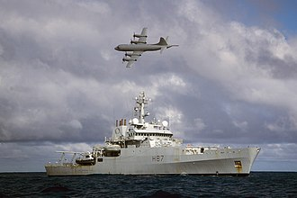 Search for Malaysia Airlines Flight 370 - Image: Australian Orion MPA Flying Over HMS Echo During Search for Malaysian Airliner MH370 MOD 45157505