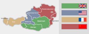 раздел Австрии на сектора с 1945 по 1955 года