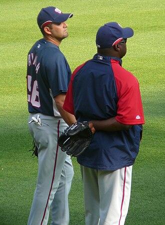 Luis Ayala - Ayala (left) talks to teammate Ray King in 2008.