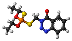 Ball-and-stick model of the azinphos-ethyl molecule