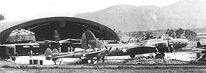 50th Education Squadron - B-17E Fortress 41-2426, 431st Bomb Squadron in August 1943 at the Thirteenth Air Depot, Tontouna Airfield, New Caledonia in for depot-level maintenance along with a P-38, P-39 and B-26. This B-17 was returned to the United States in Feb 1944 as War Weary.
