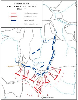 Battle of Ezra Church - A sketch of the Battle of Ezra Church, July 28, 1864.