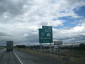 Richfield, Utah - A sign for Exit 37 and Business Loop 70 and SR-120, August 2013