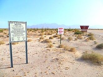 Barry M. Goldwater Air Force Range - Sign along El Camino Del Diablo roadside in the BMGR, near Wellton, Arizona.