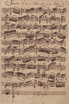 manuscrit: page de la sonate pour violon en sol mineur