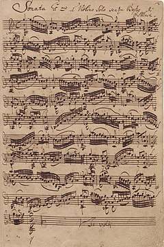 Bach's autograph of the first movement of the Sonata No. 1 in G minor for solo violin (BWV 1001) – Audio (Source: Wikimedia)