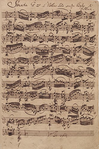 Bach's autograph of the first movement of the first sonata for solo violin, BWV1001 (Source: Wikimedia)