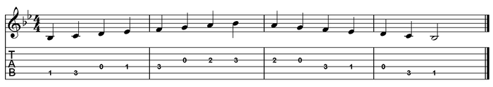 B flat major scale one octave (open position).png