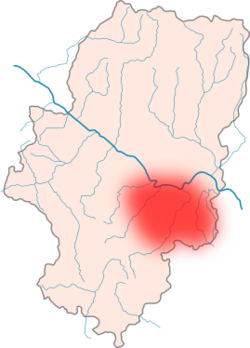 Approximate location of Lower Aragon within Aragón.