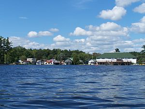 Bala, Ontario - The southern portion of the town as viewed from Bala Bay, the KEE to Bala is visible (right)