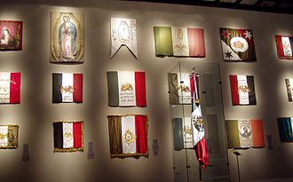 Flag of Mexico - Flag display at the Mexican History Museum of Monterrey, Nuevo León