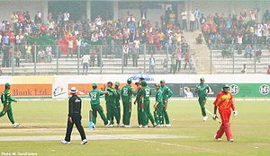 Bangladesh Players Celebrate Fall of Wicket