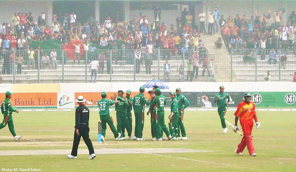 Bangladesh Players Celebrate Fall of Wicket