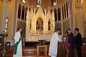 St. Mary's Church (Dedham, Massachusetts) - Image: Baptism at St. Mary's Church in Dedham, Massachusetts