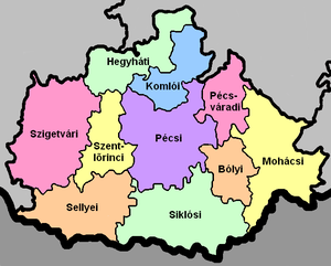 Districts of Hungary - A map of the municipalities in Baranya County