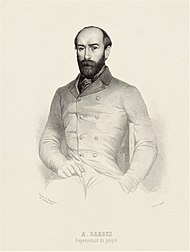 Armand Barbès, one of the leaders of the Republican insurrection of 12 May 1839. Lithography by Jeannin.