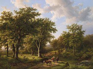 Barend Cornelis Koekkoek - Forest Landscape with Shepherds and Cattle (1857)