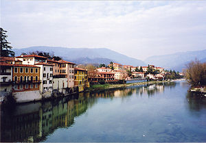 The Brenta River in Bassano del Grappa, Veneto...