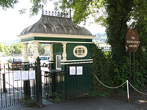 Turnstile - A now unused circa 1930 turnstile and kiosk at the Bath Recreation Ground