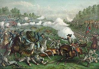 Third Battle of Winchester - Battle of Opequon, chromolithograph by Kurz & Allison, 1893.