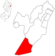 Map showing Bayonne in Hudson County. Inset: Location of Hudson County in New Jersey.