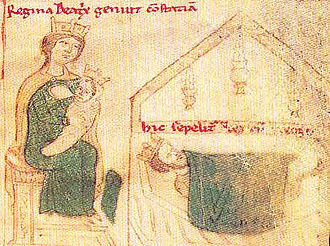 Beatrice of Rethel - Beatrice and her daughter Constance next to King Roger on his deathbed. This illustration shows Beatrice holding her infant daughter in her arms; however, Constance was born almost nine months after her father's death.