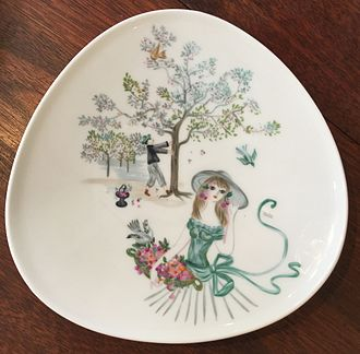 Bele Bachem - Rosenthal (company) porcelain plate with decoration designed by Bele Bachem.