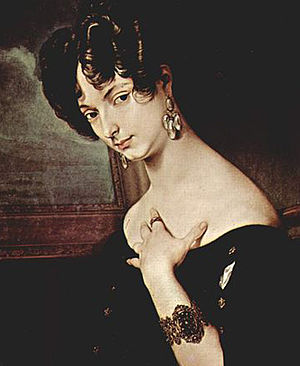 Italian in exile, Princess Belgiojoso 1832, salonnière in Paris where political and other émigré Italians,  including composer Vincenzo Bellini, gathered in the 1830s. Portrait by Francesco Hayez