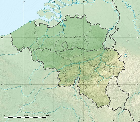 A relief map of Belgium
