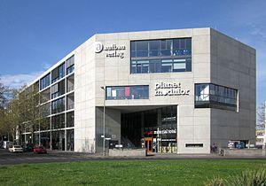 Aufbau-Verlag - Aufbau-Haus at Prinzenstraße No. 85, corner of Moritzplatz (in the front), in Berlin-Kreuzberg