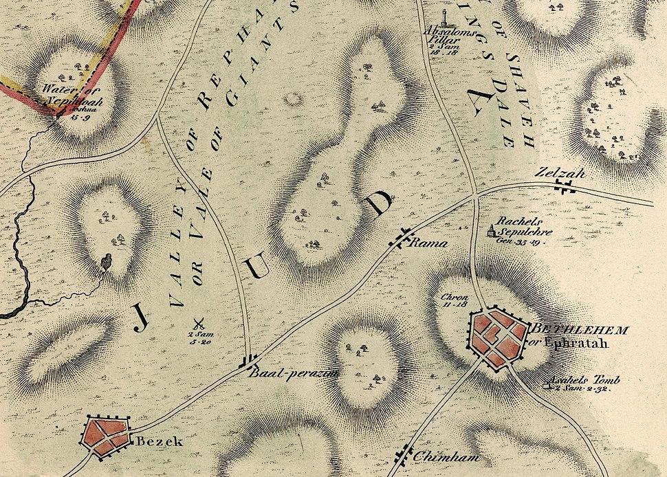 Bethlehem or Ephratah. John Melish. The Land of Moriah or Jerusalem and the Adjacent Country. 1815