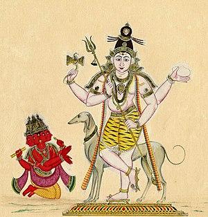 Bhairava Ashtami - Brahma worships Bhairava with his dog
