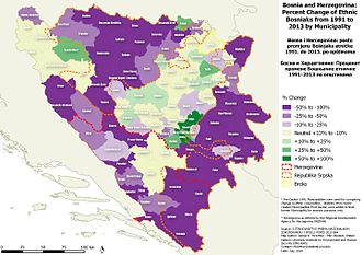 2013 population census in Bosnia and Herzegovina - % change of the number of ethnic Bosniaks by Municipality from 1991-2013