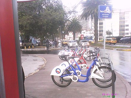 Bici Q station in northern Quito. Bici Q is the Bicycle sharing system started by the municipal government of the city Bici Q.jpg