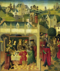 Inner left wing of an altarpiece with the wedding feast of St Elizabeth and Louis of Thuringia in the Wartburg