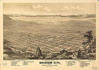 Brigham City, Utah - Panoramic map of Brigham City from 1875