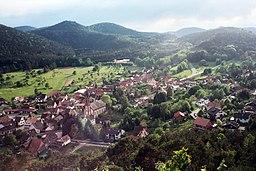 Birkenhördt, view from the Friedenskapelle to the village