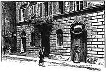 Illustration d'un bâtiment en briques au bord d'une rue. Une femme est à la porte et sur la rue se trouve un passant.