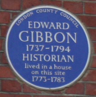 Edward Gibbon - Blue plaque to Gibbon on Bentinck Street, London