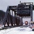 Blue Water Limited crossing the Michigan City drawbridge, January 1976.jpg