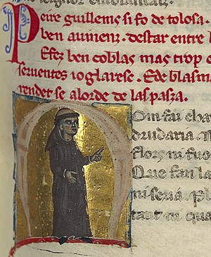 """Peire Guillem de Tolosa - """"Pere Guillem was from Toulouse. . ."""" He is portrayed here as a monk."""