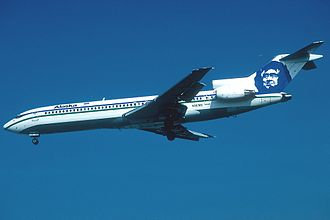 A Boeing 727-200Adv on approach to Los Angeles International Airport, showing the new livery and logo introduced in the early 1970s Boeing 727-200Adv Alaska Airlines Durand.jpg