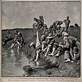 Boer War; soldiers washing their feet in a stream. Halftone, Wellcome V0015613.jpg