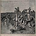 Boer War; soldiers washing their feet in a stream. Halftone, Wellcome V0015613.jpg