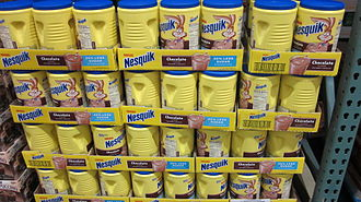 Nesquik - Jars of Nesquik Chocolate Powder at a Costco, USA