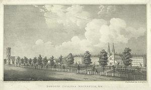 Bowdoin College - Bowdoin College, circa 1845. Lithograph by Fitz Hugh Lane