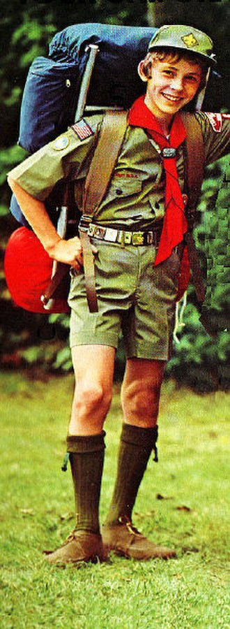 Uniform and insignia of the Boy Scouts of America - BSA uniform in the mid-1970s; shirt and shorts of the same color, with an optional baseball-style cap