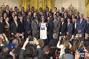 2015–16 Golden State Warriors season - Image: Brack Obama with the 2015 NBA Champions Golden State Warriors