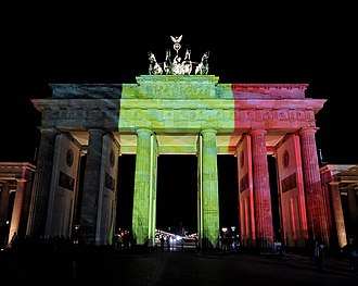 Reactions to the 2016 Brussels bombings - Brandenburg Gate lit in the colours of Belgian flag.