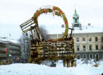 Gävle goat - The Gävle goat after being burned down during a blizzard in 1998